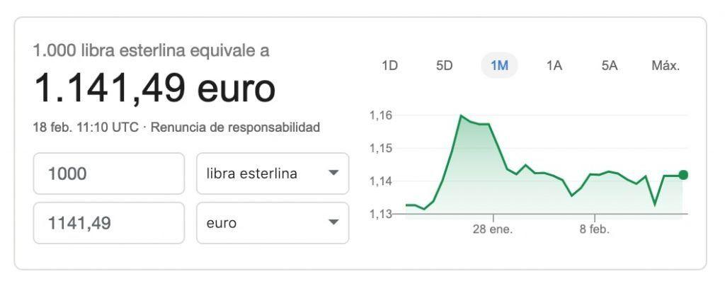 Cambio de moneda con google