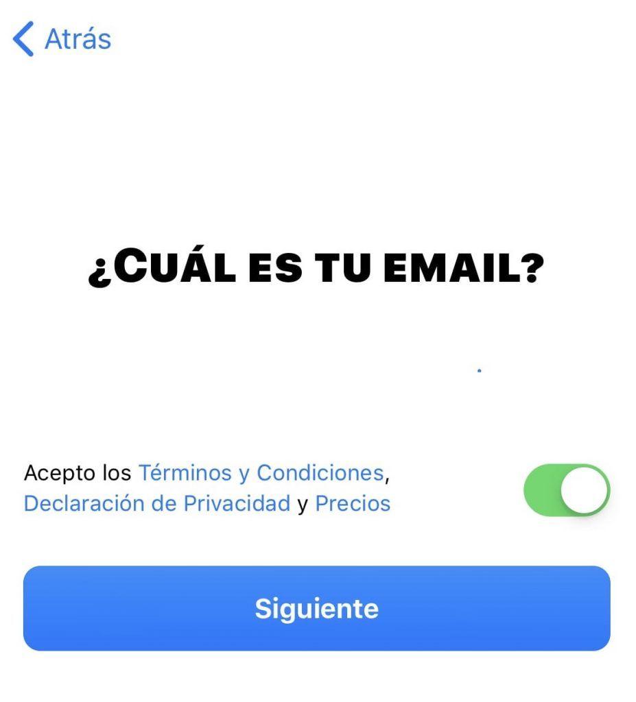 Elegir email para bunq
