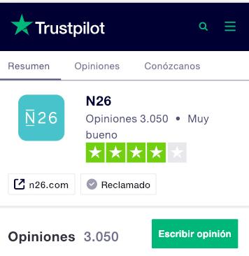 Opinión sobre N26 en Trustpilot
