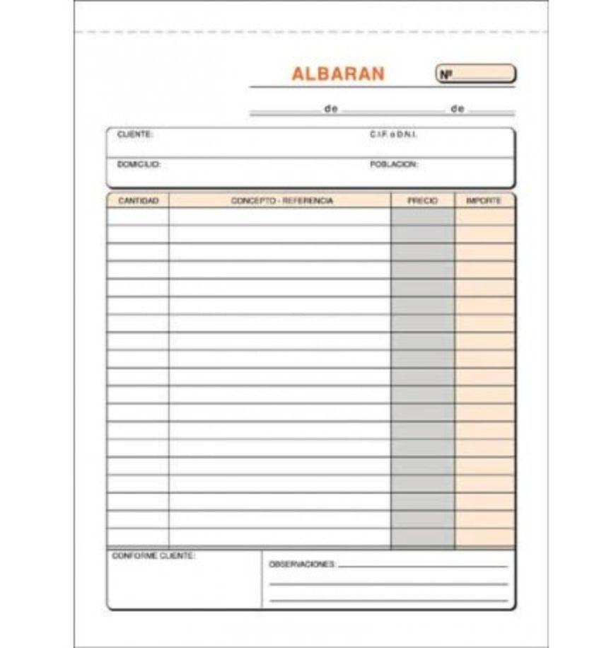 Ejemplo de modelo de Albarán en blanco
