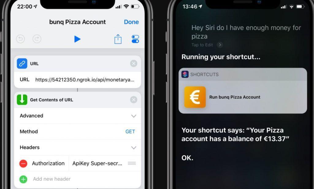 Integración entre Siri y Bunq