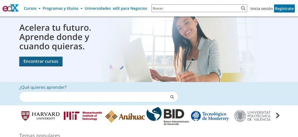 Ejemplo de Edtech: Con EDX podemos acceder a cursos online de Harvard, el MIT o la UPV