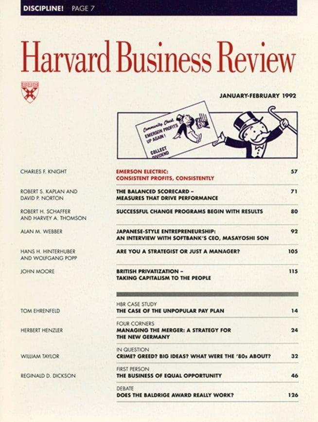 Harvard Business Review de 1992 donde se presentó el Cuadro de Mando Integral