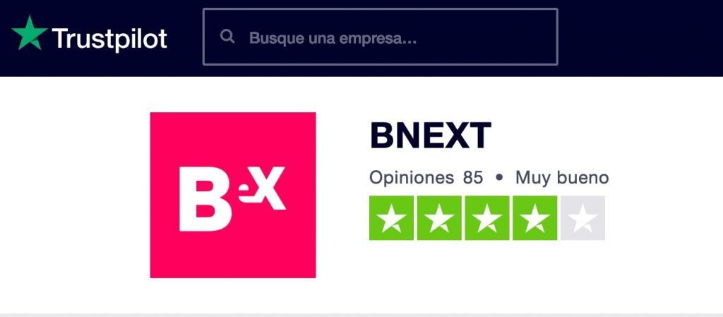 Opinion de Bnext en trustpilot