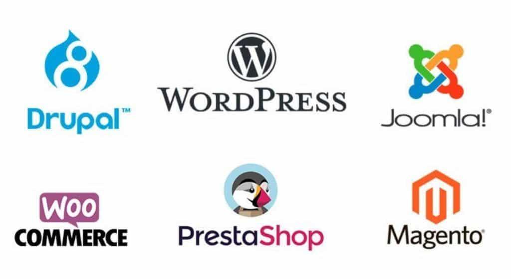 Diferentes CMS: Drupal, WordPress, Joomla, Woocommerce, Prestashop; Magento